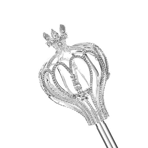 Yunhao Silver Crystal Scepter Medieval Scepters Pageant Rhinestone for Wedding Party Costumes(Silver) ()
