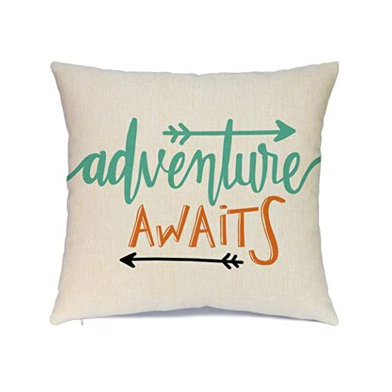 Calayinuo Set of 4 Adventure Arrows Throw Pillow Covers Cushion Case Outdoor Pillow Case Decor for Car Sofa Bed Couch 18 x 18 Inch - Suitable Occasions: Can be applied for home decoration at festival, also suitable for special parties and events High quality: Breathable linen fabric and handmade make it comfortable, durable, beautiful. Machine washable and the hands washable. The pattern does not fade. Hight quality hidden zipper to meet an elegant look What You Get: Brand new 4 PCS 18 x 18 inch Pillow Cover, No Insert and Filler. Our pillow cover fits 18x18 inch insert or smaller insert. Pattern is only on the front and no printing on the back - patio, outdoor-throw-pillows, outdoor-decor - 41PyMnAPkyL. SS570  -