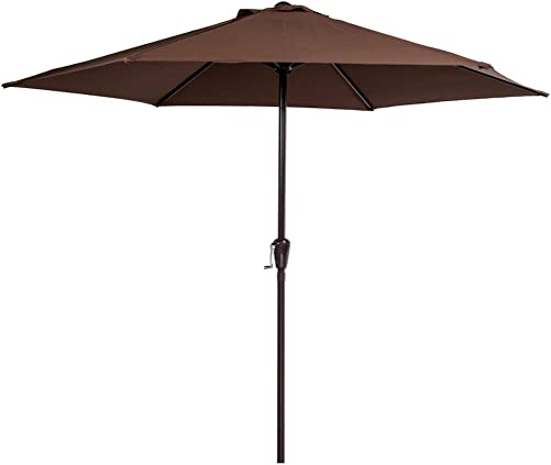 Sundale Outdoor 10FT Steel Patio Umbrella Table Market Umbrella with Crank Lift for Garden, Deck, Backyard, Pool, 6 Steel Ribs, 100 Polyester Canopy Coffee