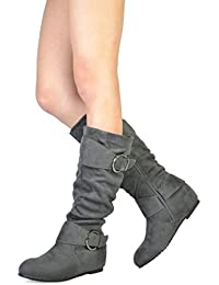 Women's Knee High Low Hidden Wedge Boots (Wide Calf Available)