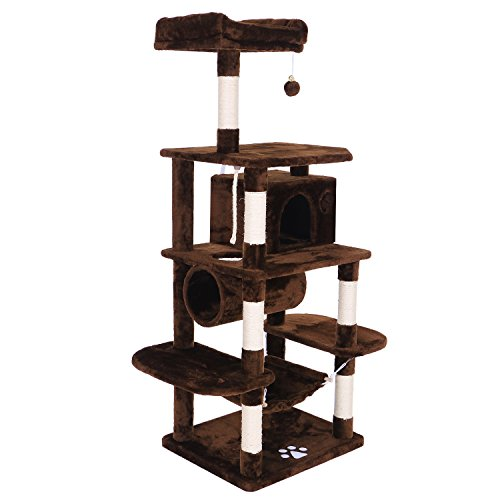 BEWISHOME Cat Tree Condo Furniture Kitten Activity Tower Pet Kitty Play House with Scratching Posts Perch Hammock Tunnel Brown MMJ02Z