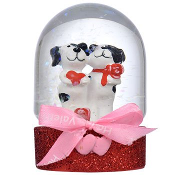 Mini Polyresin and Glass Valentine Water Globes, 4in (Puppy)