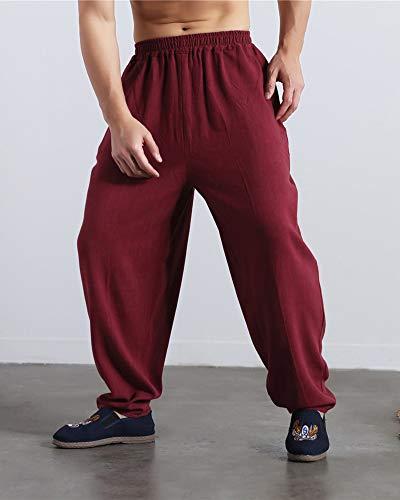 Yoga Jogging Foncé Sarouel Elastique Liangzhu Homme Baggy Slant Rouge Taille Pantalon Poches Casual nq8YRpw