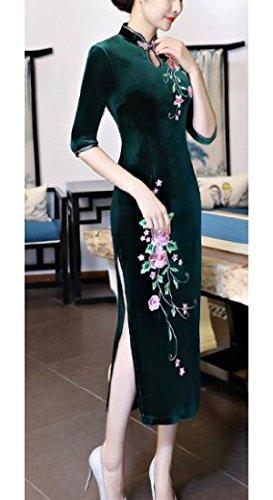 Comodi Qipao Pleuche Delle Primavera Tunica Floreale Cinese Donne Dell'annata Verde Premio Abito xBq6TXT