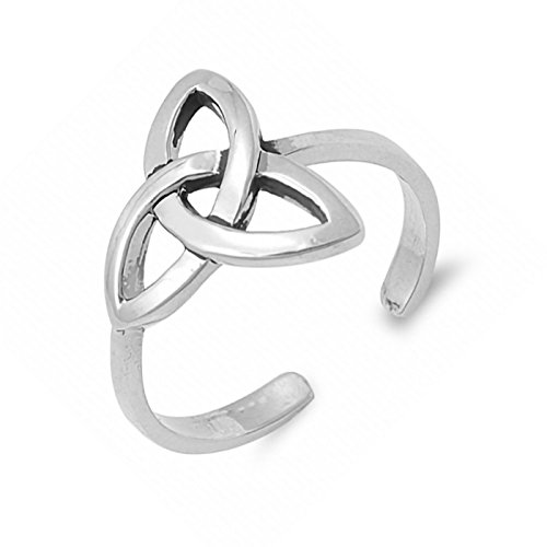 925 Sterling Silver 12mm Triquetra Trinity Knot Celtic Open Adjustable Toe Ring