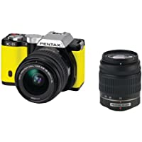 Pentax K-01 16MP APS-C CMOS Mirrorless Digital Camera with Dual Lens Kit 18-55mm, 50-200mm (Yellow)