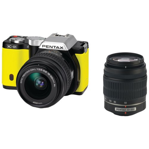 Pentax K-01 16MP APS-C CMOS Mirrorless Digital Camera with Dual Lens Kit 18-55mm, 50-200mm (Yellow) by Pentax
