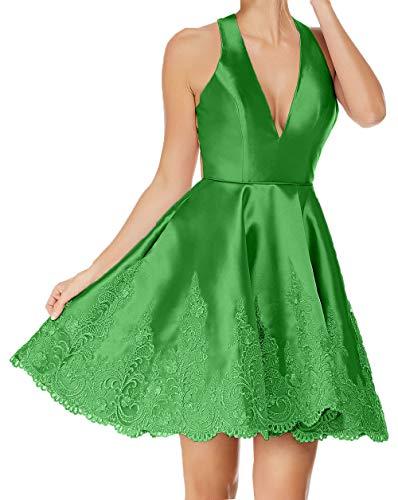 Cocktailkleider Abendkleider V Neckholder Applikation Partykleider Damen Charmant Grün Spitze Ausschnitt Festlichkleider mit 76WafSwn