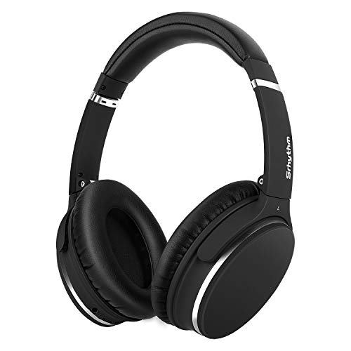Noise Canceling Headphones Over Ear,Lightweight Srhythm Wireless Bluetooth Headset with Mic Hi-Fi Deep Bass Folding Durable Wired Headphones,Comfortable Protein Earpad for Travel TV - Black (Low Latency)