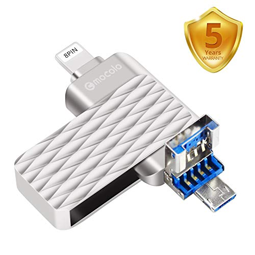 3 in 1 USB Flash Drive, 32gb USB 3.0 Flash Drive External Storage for iOS/Android/PC/iPad/iPhone Lightning Memory Stick Thumb Drive Jump Drive (32GB, Silver) ()