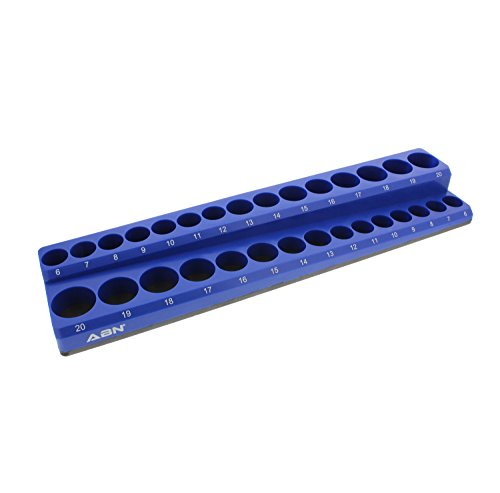 ABN Magnetic Socket Organizer Tray - Metric 3/8in Socket Holder Magnetic Tool Organizer 30 Slot Blue Holder