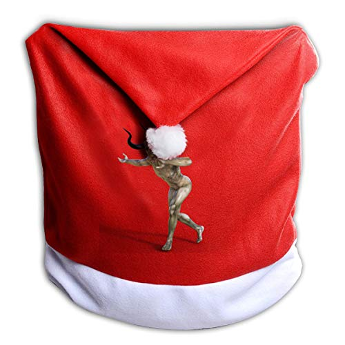 FUNMAX Cool Halloween Daemon Devil Hell Corner Monster Evil Non-Woven Xmas Christmas Themed Dinner Chair Cap Hat Covers Set Ornaments Backers Protector for Seat Slipcovers Wraps Coverings Decorations