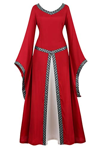 Famajia Womens Renaissance Costumes Medieval Irish Over Dress Victorian Retro Gown Cosplay Long Dress Red Small ()