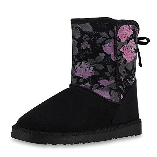 napoli-fashion Damen Schuhe Winter Stiefeletten Schlupfstiefel Kunstfell Gefüttert Jennika Schwarz Blumen