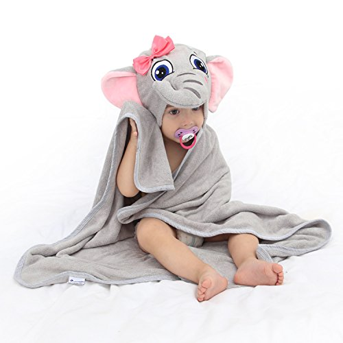 Elephant Infant Towels - Baby Hooded Towel Upsimples Elephant Baby Towels for Baby Girls 35×35 Inches Ultra Large 500GSM Super Soft Organic Bamboo Baby Bath Towel for Infant Toddler | Baby Girl Shower Gift Photo Shoot Props