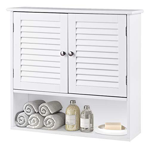 (TANGKULA Wall Cabinet Medicine Cabinet Wood Collection Hanging Kitchen Bathroom Storage Cabinet Organizer with Double Doors and Adjustable Shelf, White)