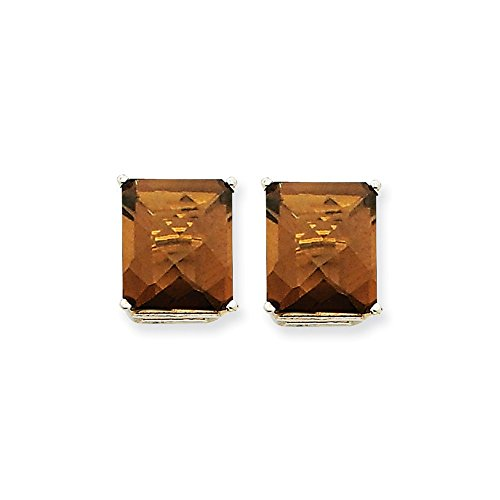 Mia Diamonds 14k White Gold 12x10mm Emerald Smoky Quartz Earrings