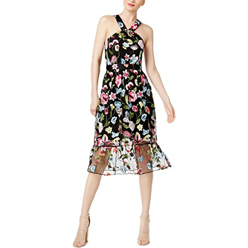 Cynthia Rowley Womens Sheer - Cynthia Rowley Womens Sheer Embroidered Casual Dress Black L