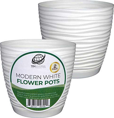 Form Plastic - Modern White Plastic Flower Pot - 2 Pack