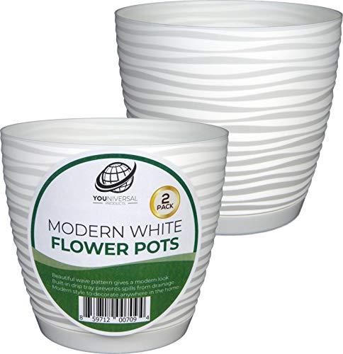 Form Plastic - Modern White Plastic Flower Pot - 2 ()