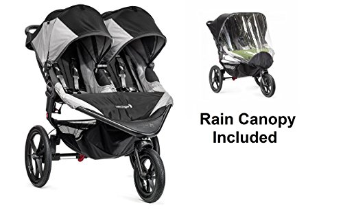 Baby Jogger 2016 Summit X3 Double - Black/Gray with Double Rain Canopy