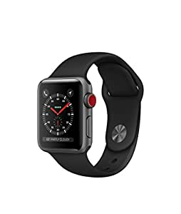 Apple watch series 3 Aluminum case Sport 38mm GPS + Cellular GSM unlocked (Space Gray Aluminum Case with Black Sport Band)