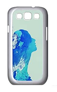 Blue Girl Outline Custom Hard Back Case Samsung Galaxy S3 SIII I9300 Case Cover - Polycarbonate - White