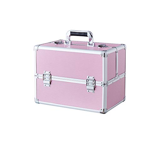 Makeup Train Case Portable Professional Cosmetic Organizer for Artist Durable Aluminum frame with Locks and Folding Trays (Pink,14.6×9.5×10.8 Inch)