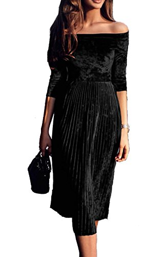 Leezeshaw Womens Off Shoulder Boat Neck 3/4 Sleeve Empire Pleated Velvet A-Line Midi Dress Black Medium