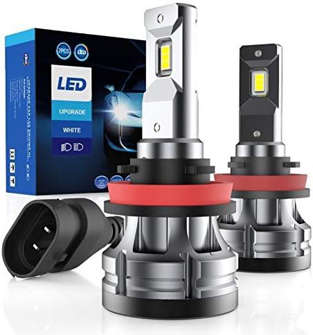 Otium H11/H8/H9 LED Headlight Bulbs, 6500K 12000 Lumens Super Bright CSP Chips Conversion Kits, High Low Beam/Fog Light, IP68 Waterproof, Cool White, 2 Pack