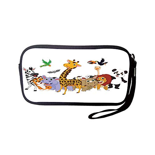 - iPrint Neoprene Wristlet Wallet Bag,Coin Pouch,Kids,Colorful Jungle Animals Hippo Bat Parrot Giraffe Zebra Rhino Panda African Safari Themed Decorations Decorative,for Women and Kids