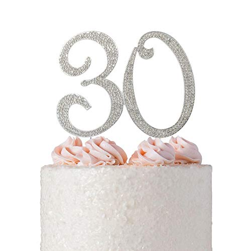 30 Rhinestone Birthday Cake Topper | Premium Bling Crystal Diamond Sparkly Gems | 30th Anniversary or Birthday Cake Topper Decoration Ideas | Perfect Keepsake (30 Silver) -