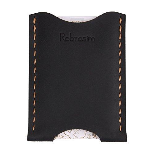 Robrasim Leather Card Wallet – Handcrafted Leather Card Holder – Ultra Slim Front Pocket Wallet – Black