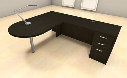 3pc L Shape Modern Executive Office Desk Set, #CH AMB L18