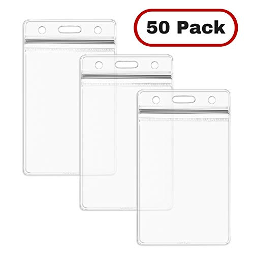 MIFFLIN Plastic ID Badge Holders, Vertical Hanging Card Holder with Zipper, Clear Bulk Nametag Holders (50 Pack)
