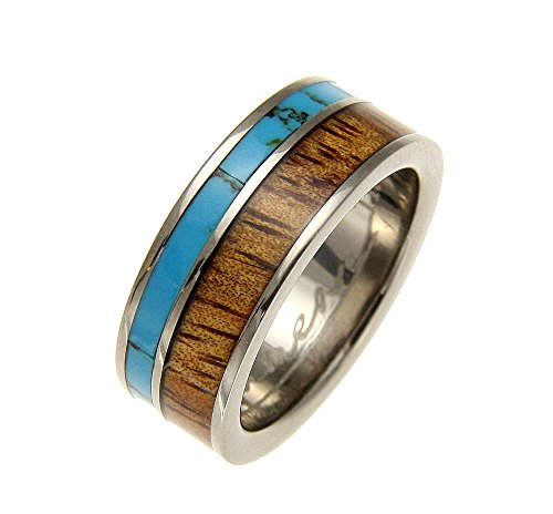 Turquoise Titanium Bands - Genuine inlay Hawaiian koa wood turquoise band ring titanium 8mm size 10