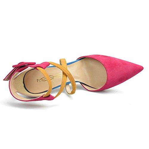 Tacones Las Del Boda Zapatos Ante De De Mezclados Zapatos Para Banquete Dedo Zapatos Pie Colores Del Cruzados De Correas De Finos ShanLy Punta Los De Mujeres Punta Corte Tobillo 10CM Pink El Del qYBxA88wI