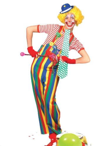 Striped Clown Overalls Adult Costume Accessory Size Large (Striped Clown Overalls Costume)