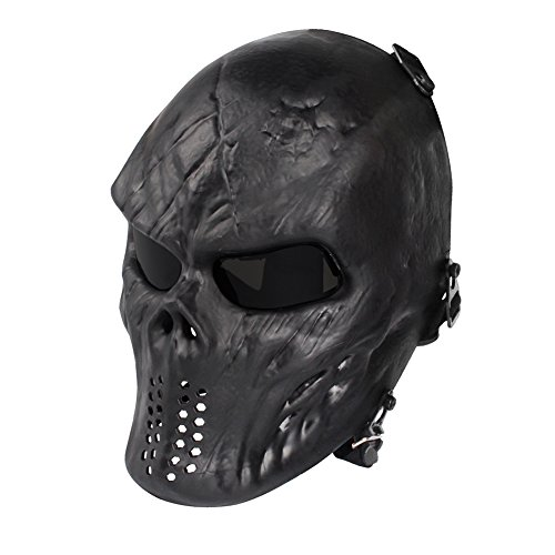 NINAT Airsoft Skull Masks Full Face - Tactical Mask Eye Protection for CS Survival Games BBS Shooting Masquerade Halloween Cosplay Movie Props Zombie Scary Skeleton Masks Black Greylens