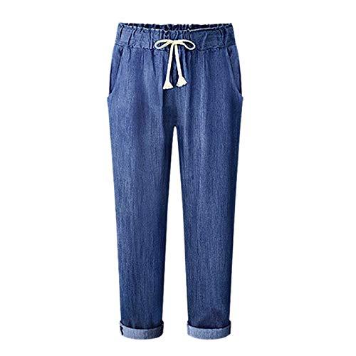 Elastico Vaqueros Claro Lapiz Negro Solido Alta Con De Harem Azul Color Mujeres Sodial Talla Sueltos Cintura Extra La Largo Cordon S Pantalones 4A1w7xXnq