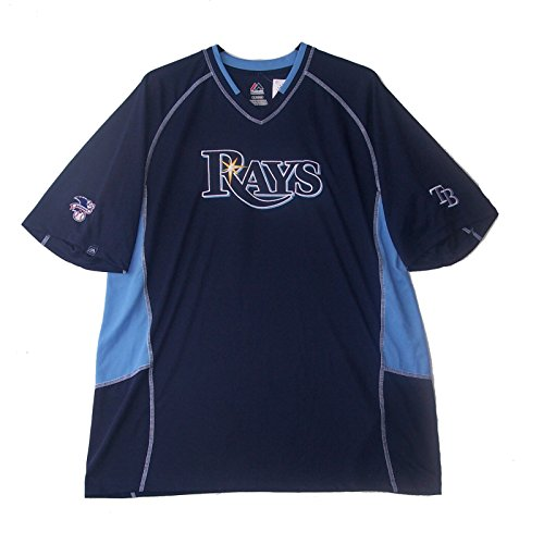 Majestic Tampa Bay Rays Adult Size X-Large XL Jersey Style Shirt - Navy Blue & Light Blue