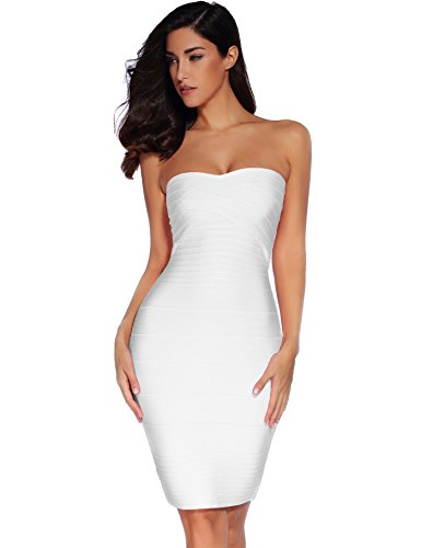 Meilun Women's Rayon Strapless Stretch Bandage Dress X-Small White