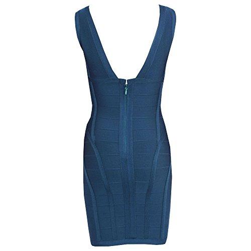 HLBandage Women's Rayon Deep V Neck Layering Bodycon Bandage Dress Verde Oscuro