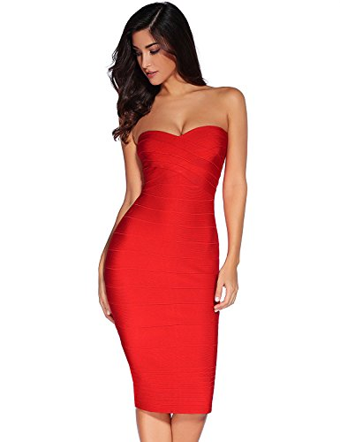 Meilun Women's Rayon Strapless Below Knee Bandage Bodycon Party Dress (Medium, Red) ()