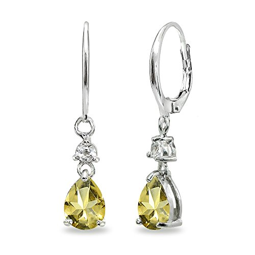 Dangle Birthstones Jewelry - Sterling Silver Citrine & White Topaz 8x6mm Teardrop Dangle Leverback Earrings