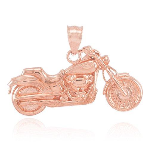 14k Motorcycle Charm (14k Rose Gold High Polish Biker Charm Motorcycle Pendant)