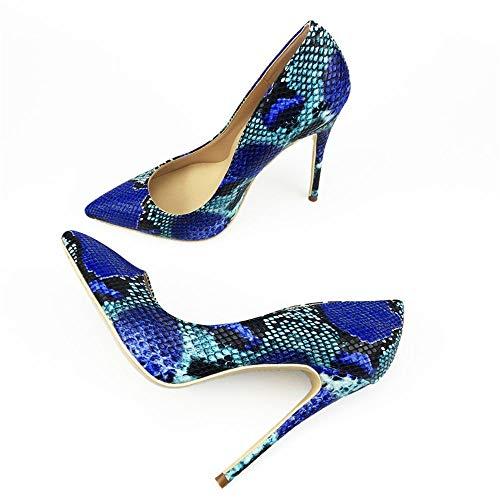 High Heels High Heels Schuhe High Heels Damenschuhe HCBYJ Blaue High Spitzen sexy Heels Schlange Print RUBBqZH