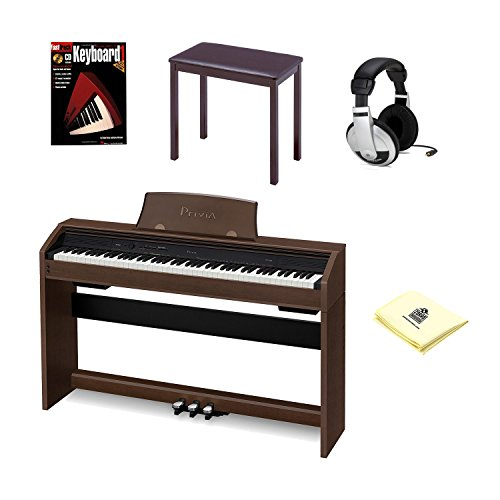 Casio PX750 Brown Digital Piano Bundle With Casio CB7 Brown Furniture Style Bench, Headphones, Hal Leonard Instructional Book, & Polishing Cloth