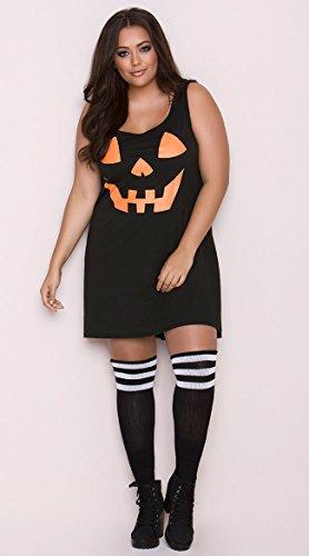 Leg Avenue Women's Plus Size Pumpkin Casual Halloween Jersey Dress, Black 3X-4X ()