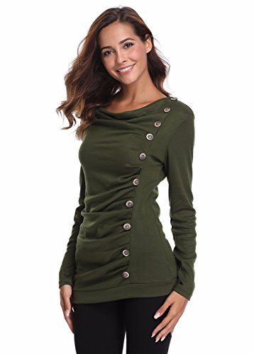 18 Misses Tops (MISS MOLY Women's Cowl Neck Long Sleeves Buttons Decor Slim Ruched Front Tunic Top Army-Green XL)